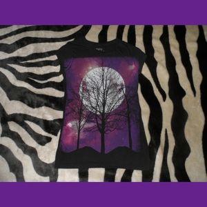 Black & Purple Wicked Dark Tree Silouette Shadow